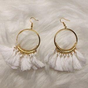 White and gold hoop fringe earrings